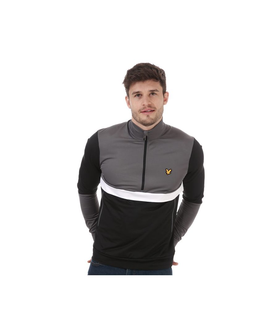 Image for Men's Lyle And Scott Tech Track 1/2 Zip in Black Grey