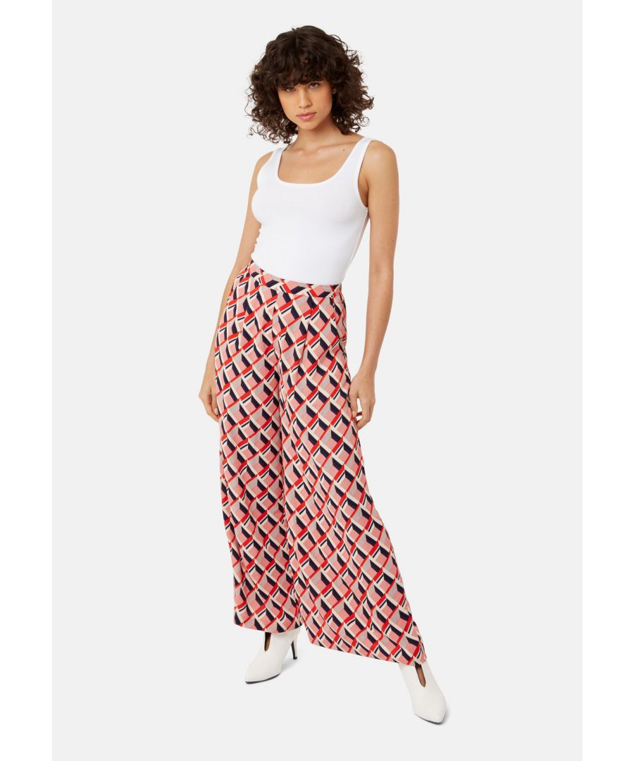 Image for Just Keep Staring Wide Leg Trouser in Red Geometric Print