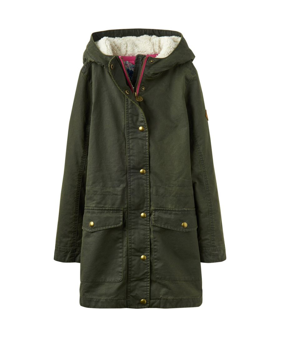 Image for Joules Girls Clover Faux Wax Warm Polar Fleece Parka Jacket Coat