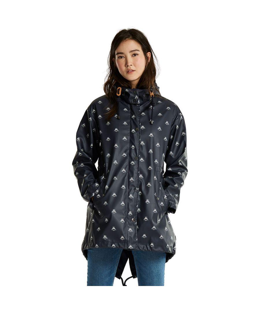 Image for Joules Womens/Ladies Mistralprint Rubber Waterproof Parka Jacket Coat