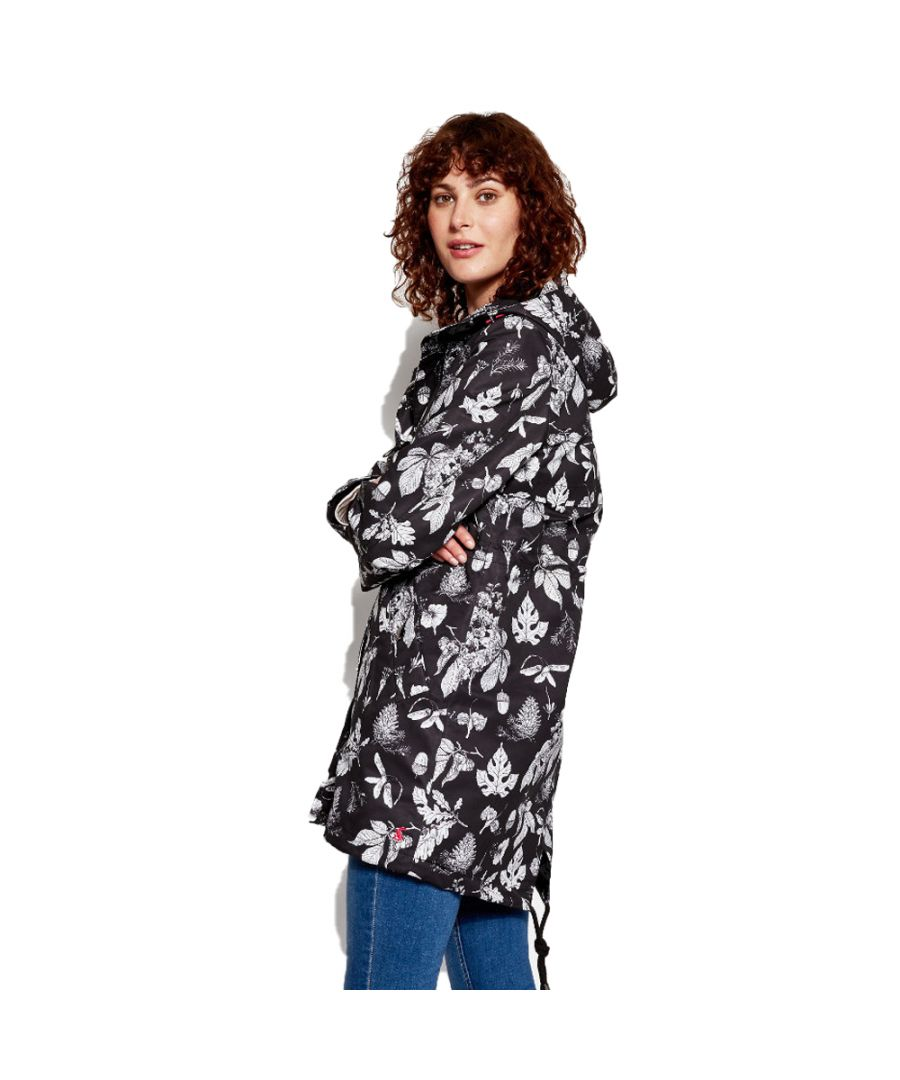 Image for Joules Womens/Ladies Z Raine Printed Mid Length Waterproof Rain Jacket