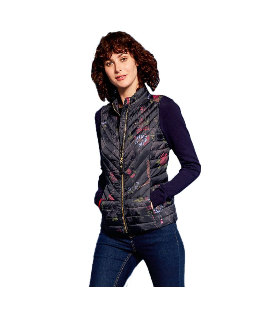 Image for Joules Womens/Ladies Brindly Print Upfill Quilted Gilet Bodywarmer