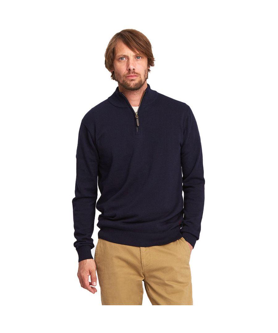Image for Joules Mens Hillside Half Zip Funnel Long Sleeve Soft Cotton Jumper