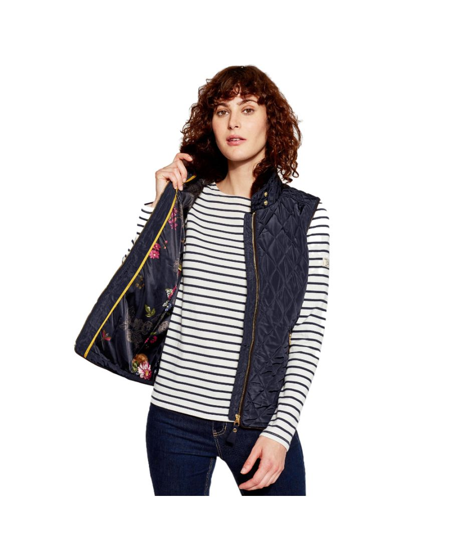 Image for Joules Womens Inverness Faux Fur Collar Warm Quilted Gilet