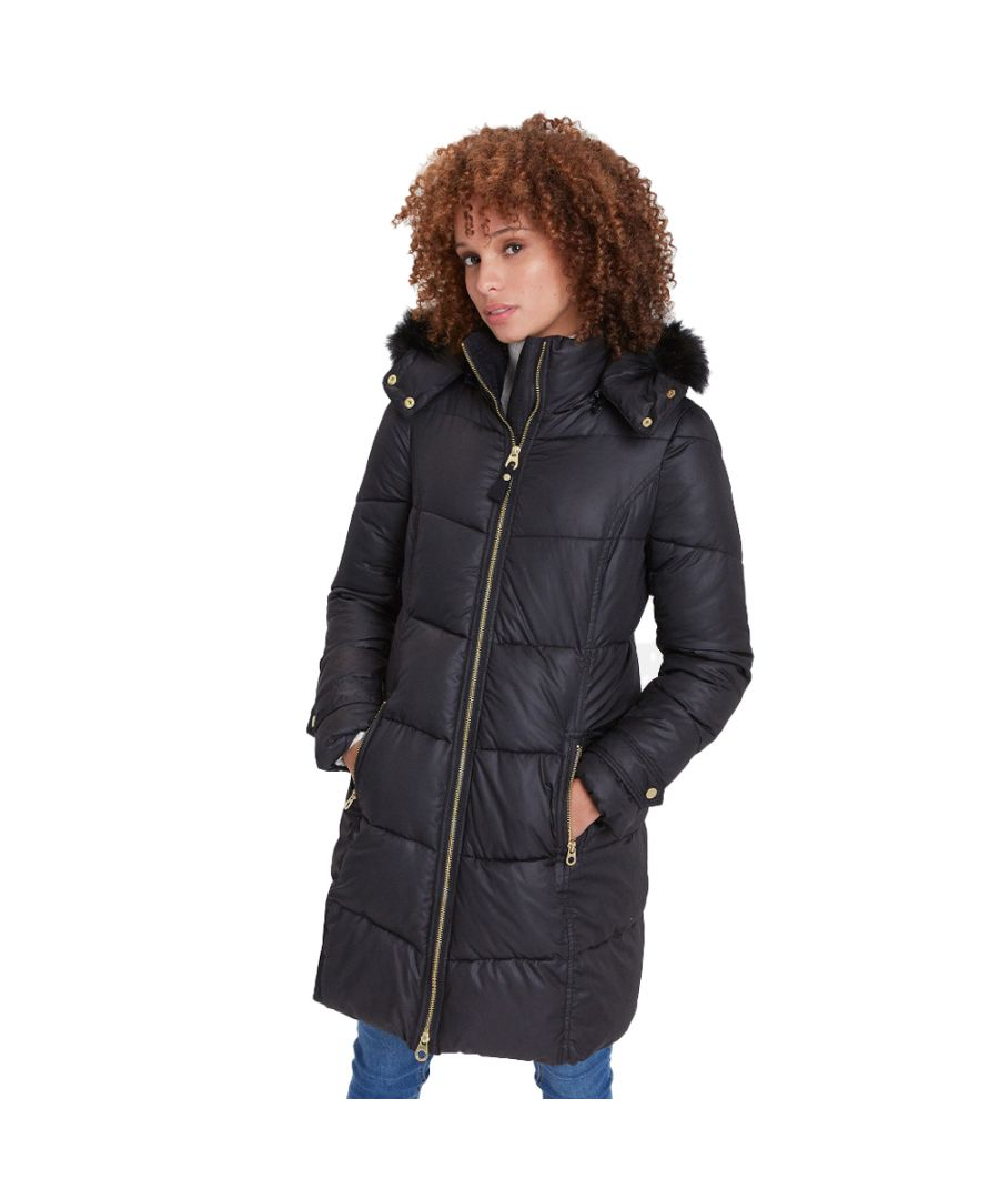 Image for Joules Womens Snowbury Hooded Long Length Puffer Coat