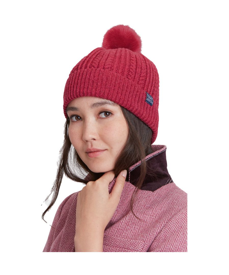 Image for Joules Womens Cable Knit Warm Winter Faux Fur Bobble Hat