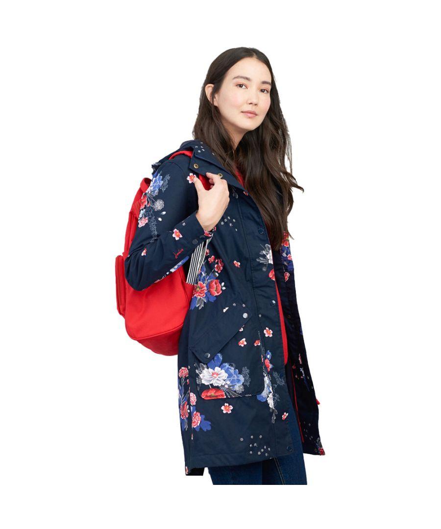 Image for Joules Womens Raine Long Printed Waterproof Hooded Coat