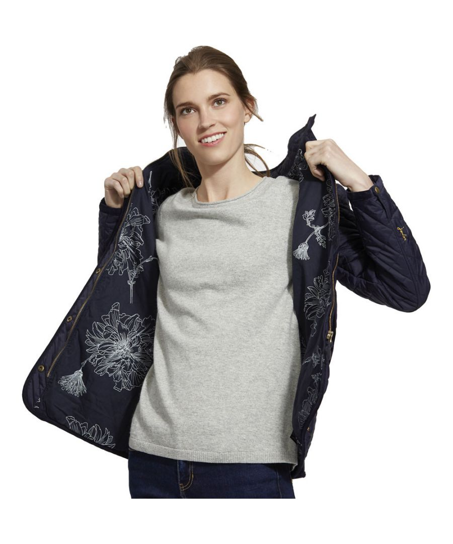 Image for Joules Womens Newdale Printed Quilted Fitted Casual Coat