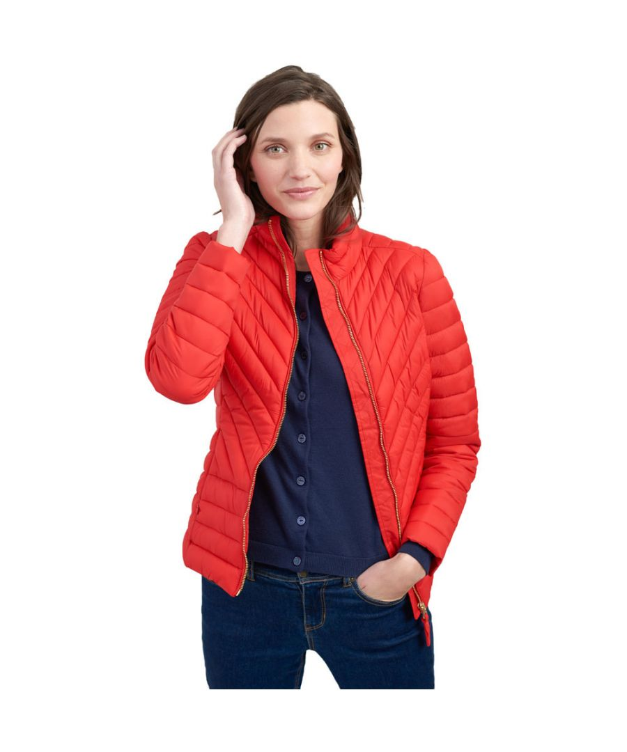 Image for Joules Womens Elodiepnt Chevron Quilted Padded Fitted Coat