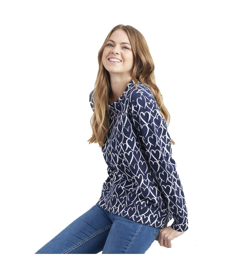 Image for Joules Womens Ellen Prnted Curved Hem Casual Long Sleeve Top