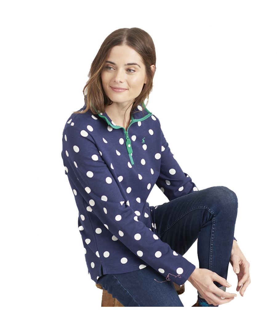 Image for Joules Womens Fairdale Printed Half Zip Long Sleeve Top