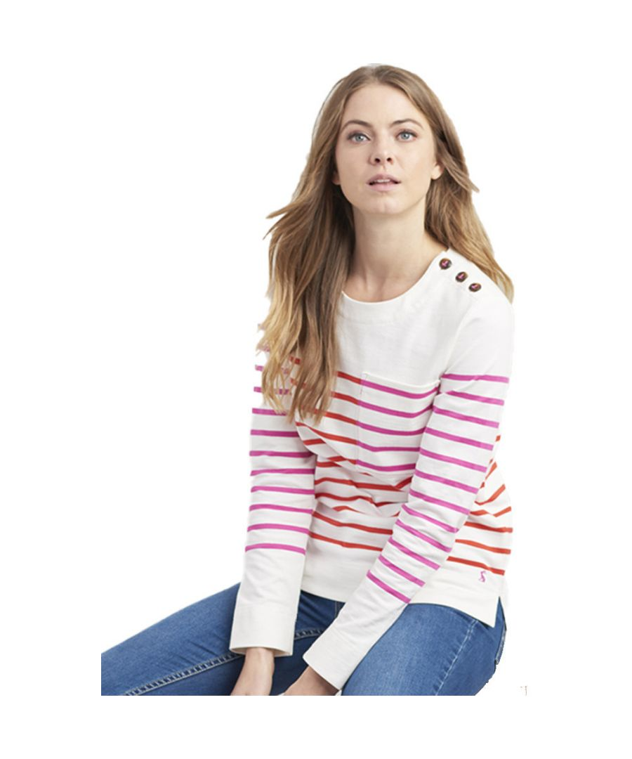 Image for Joules Womens Renee Long Sleeve Contrast Print Jersey Top