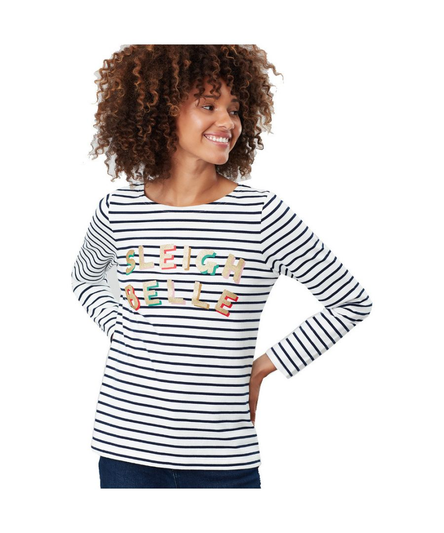Image for Joules Womens Harbour Printed Long Sleeve Relaxed Fit Top