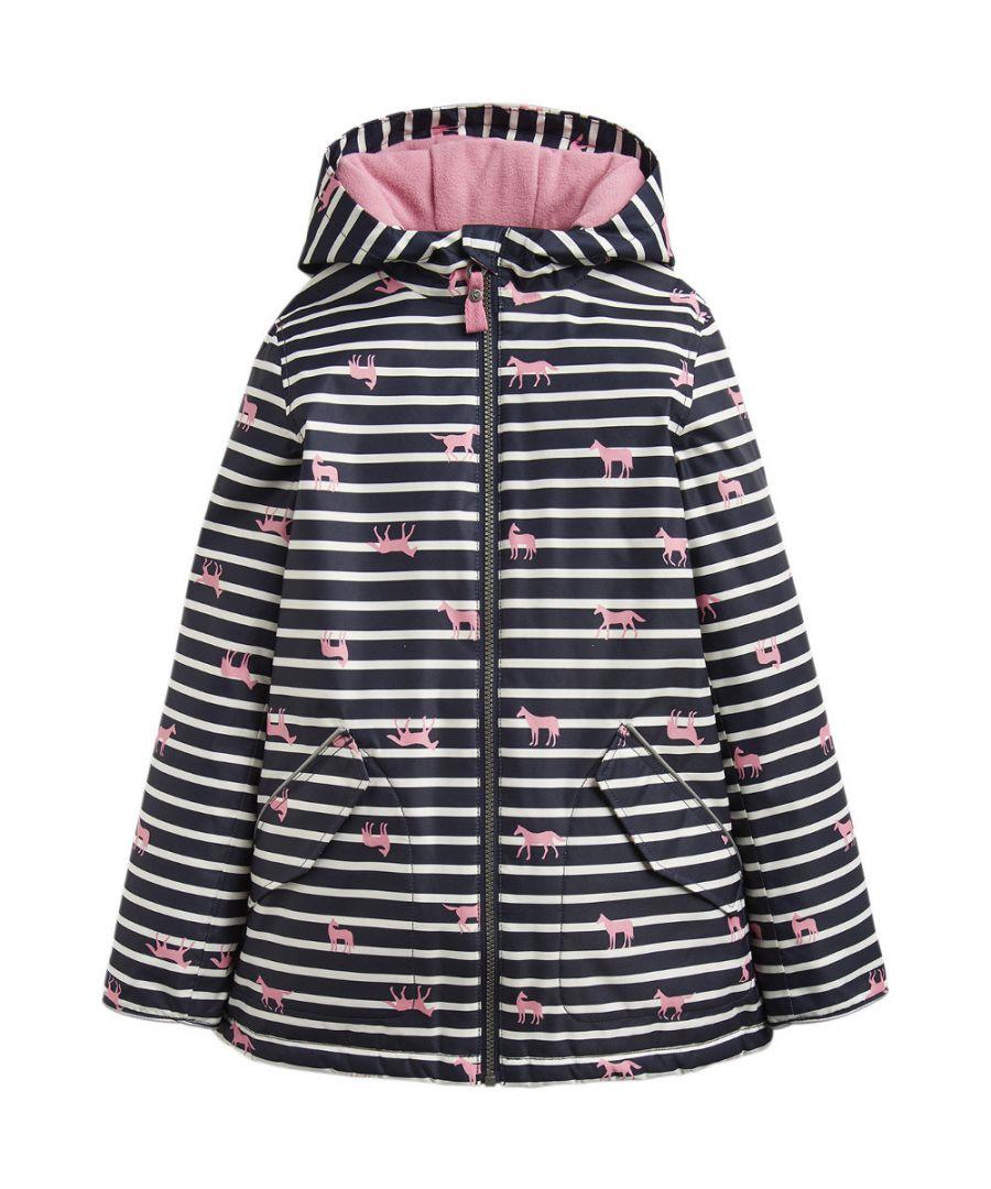 Image for Joules Girls Raindrop Warm Fleece Hood Waterproof Rain Coat