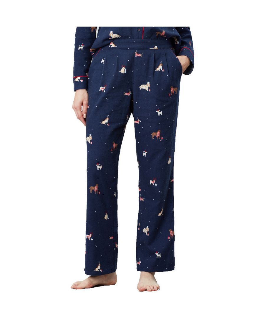Image for Joules Womens Snooze Tie Waisted Printed Pajama Bottoms
