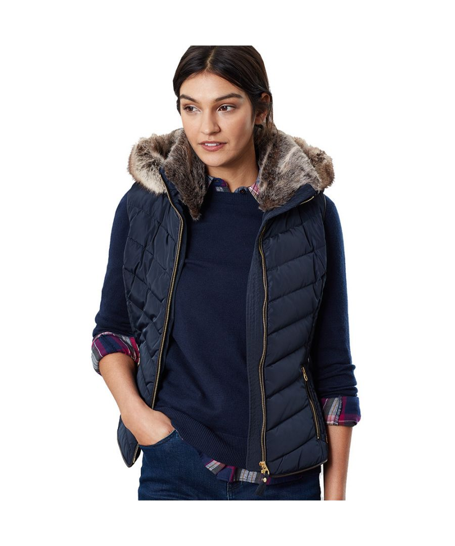 Image for Joules Womens Maybury Fur Trim Quilted Gilet Bodywarmer