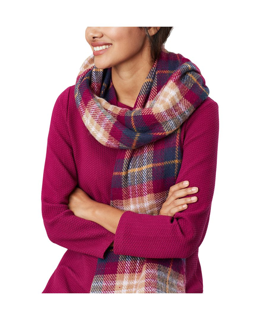 Image for Joules Womens Upton Super Soft Checked Tassle Scarf