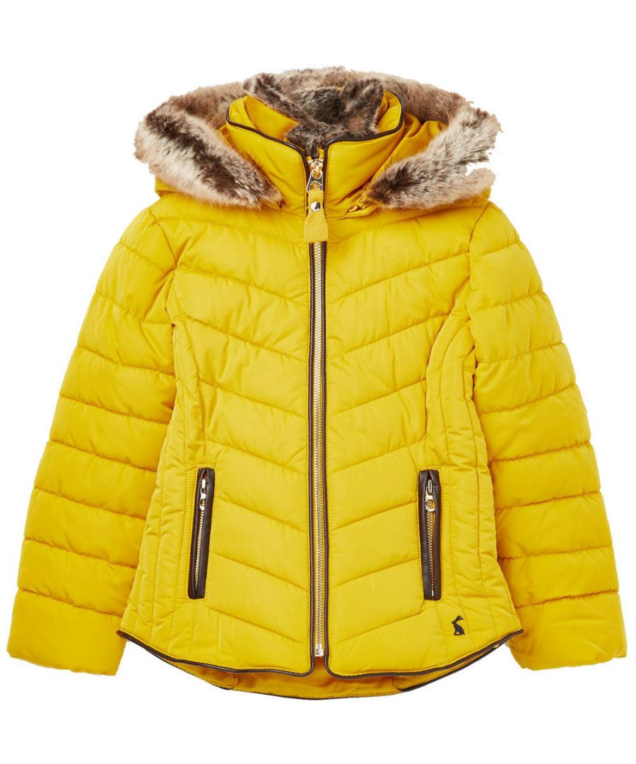 Image for Joules Girls Gosling Fur Trim Quilted Hooded Cosy Warm Coat