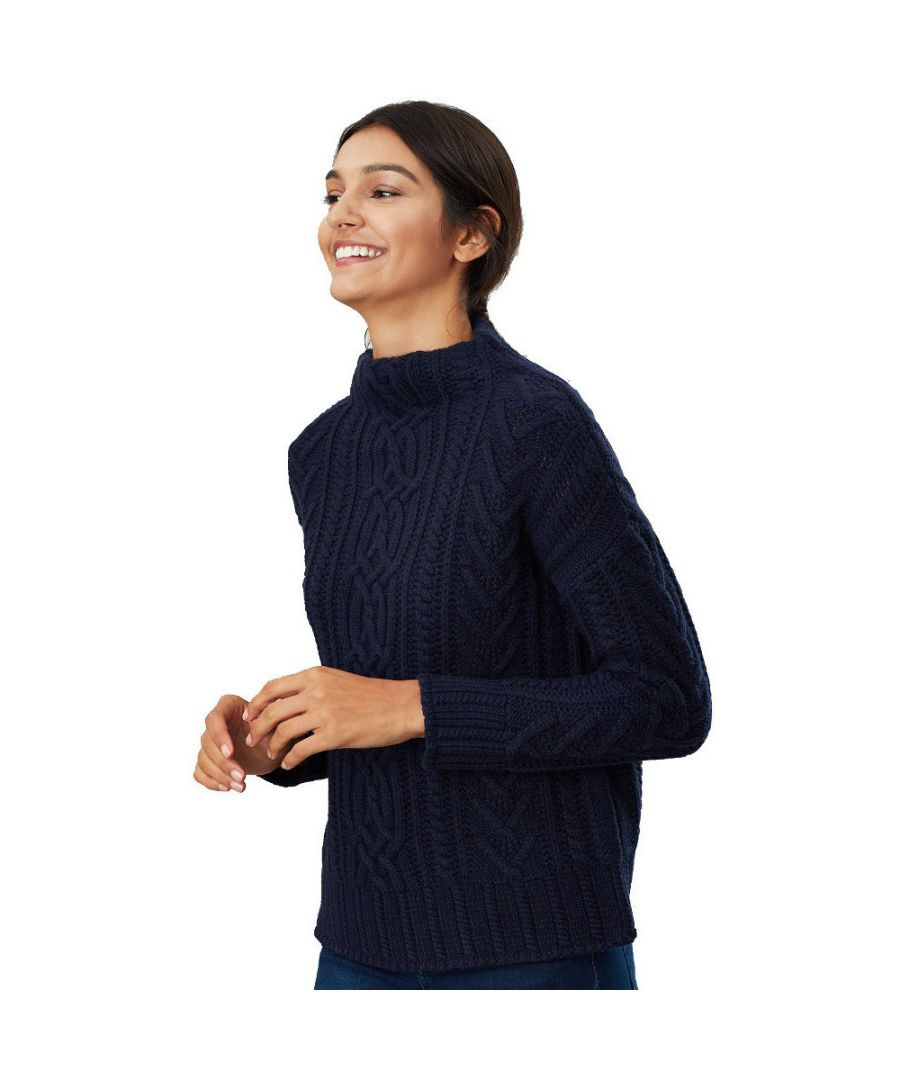 Image for Joules Womens Jamie Cable Knit Roll Neck Knitted Jumper