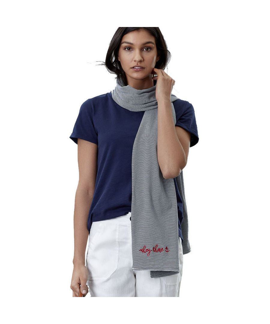Image for Joules Womens Coast Cotton Embroidered Striped Jersey Scarf