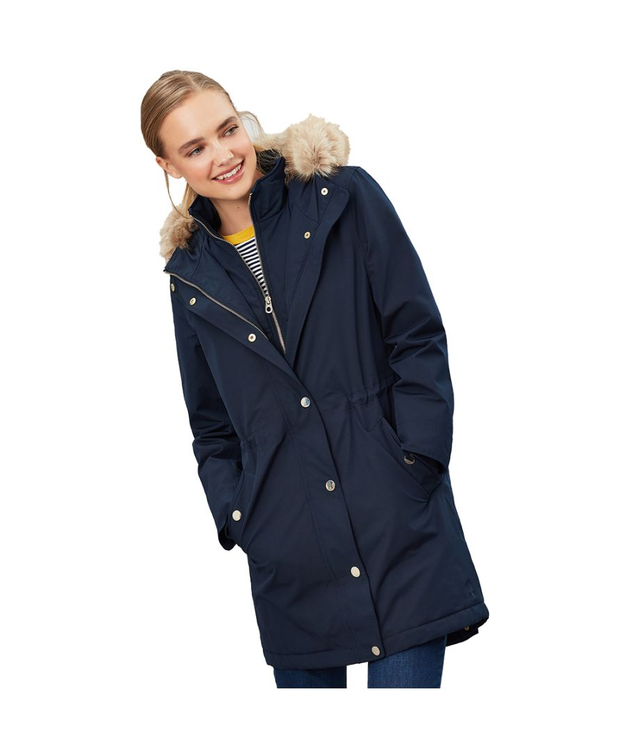 Image for Joules Womens Kempton Hooded Drop Tail Parka Coat Jacket