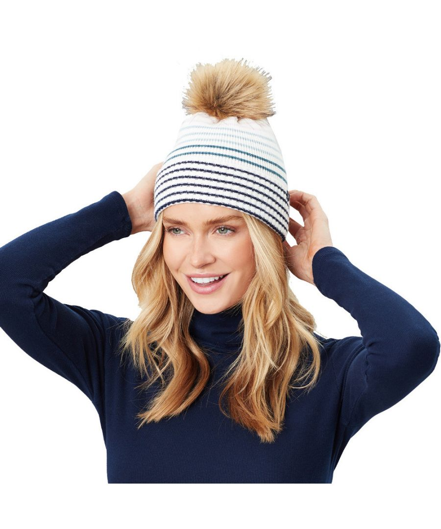 Image for Joules Womens Chillaway Soft Knitted Striped Beanie Hat
