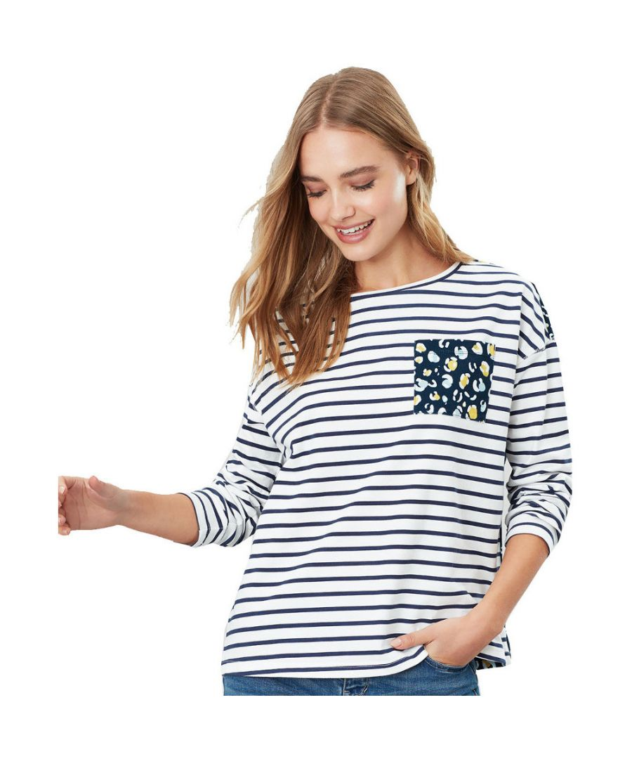 Image for Joules Womens Marina Print Drop Shoulder Long Sleeve Top