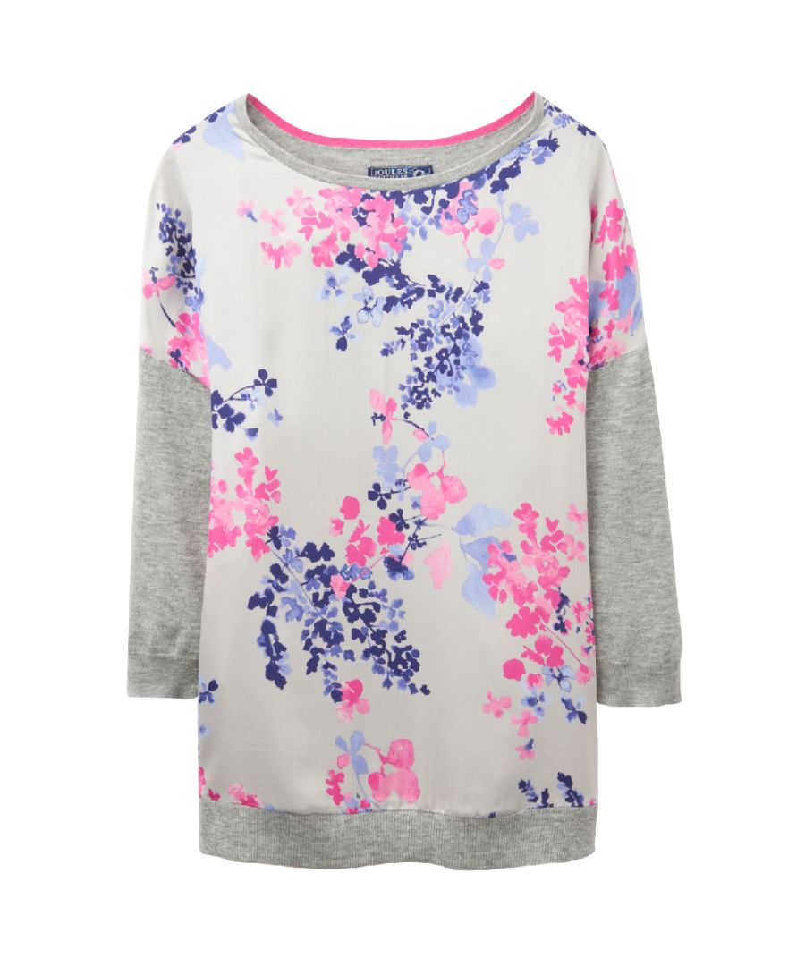 Image for Joules Ladies Kitty Floral Print Quarter Sleeve Sweater Jumper