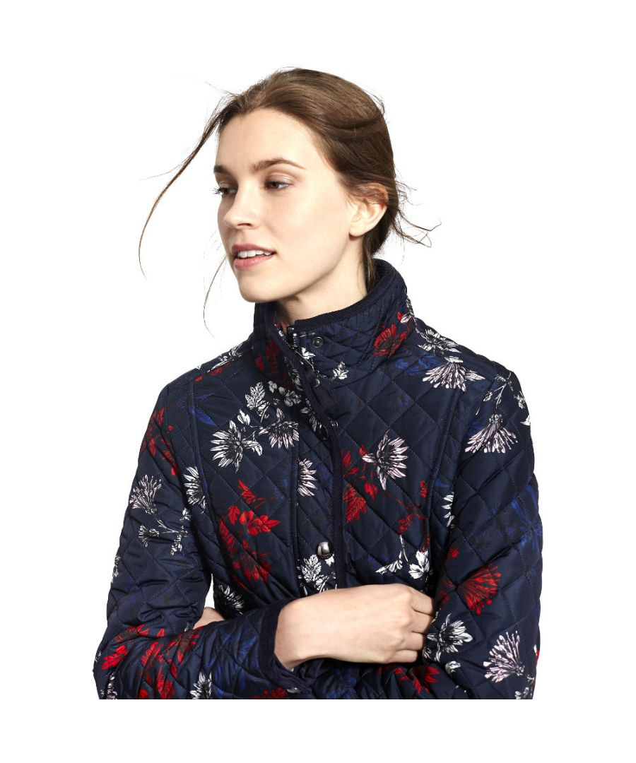 Image for Joules Womens/Ladies Newdale Print Quilted Polycotton Jacket Coat