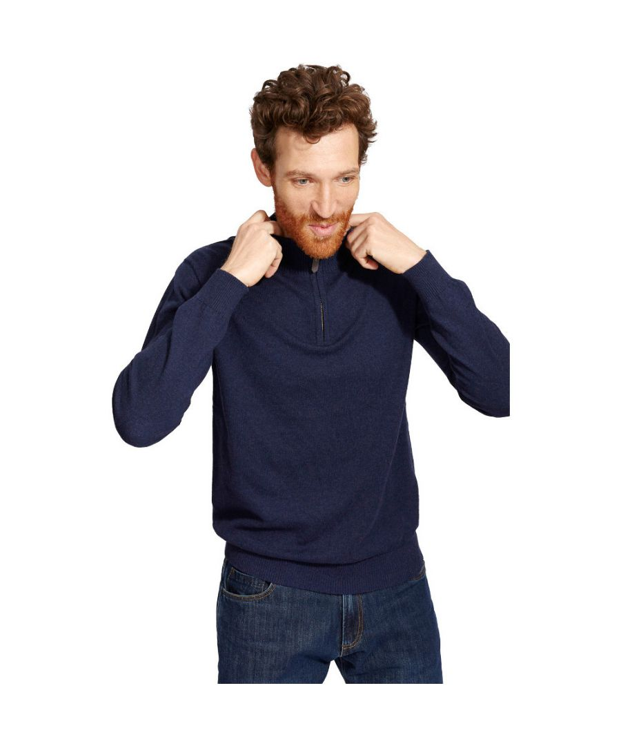 Image for Joules Mens Hillside Half Zip Wool Contrast Funnel Neck Jumper