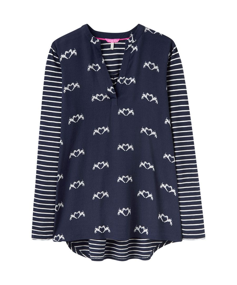 Image for Joules Womens/Ladies Beatrice Woven Long Sleeve Buttoned V-Neck Jersey