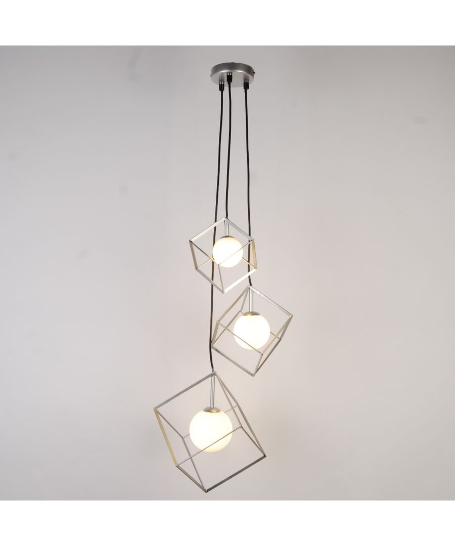 Image for Villem 3 Light Silver Pendant Ceiling Light