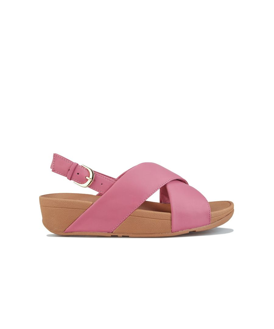 Image for Women's Fit Flop Lulu Leather Cross Back Strap Sandals in Pink