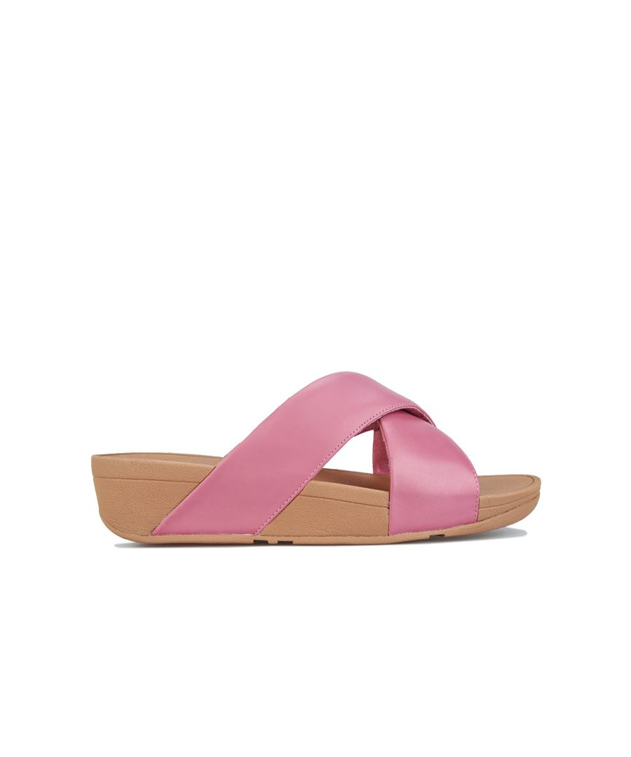 Image for Women's Fit Flop Lulu Leather Cross Slide Sandals in Pink