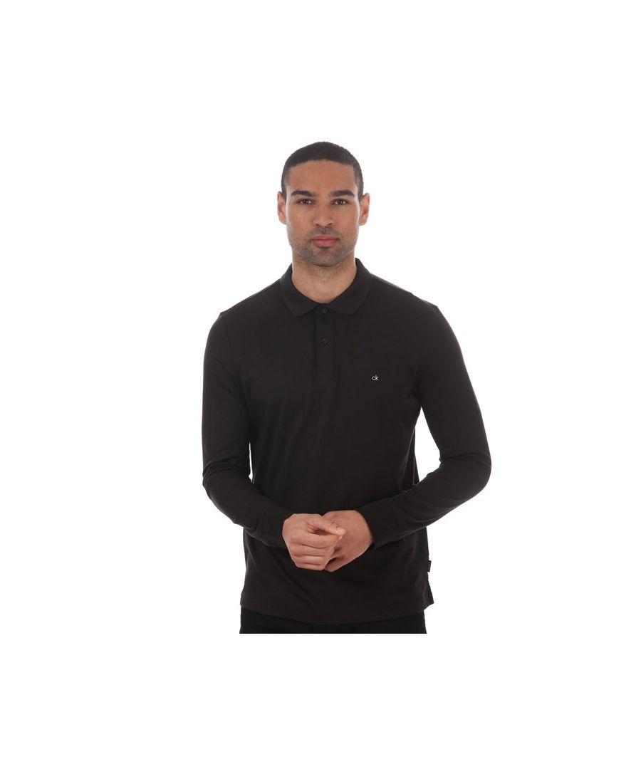Image for Men's Calvin Klein Liquid Tough Long Sleeve Polo Shirt Black XSin Black