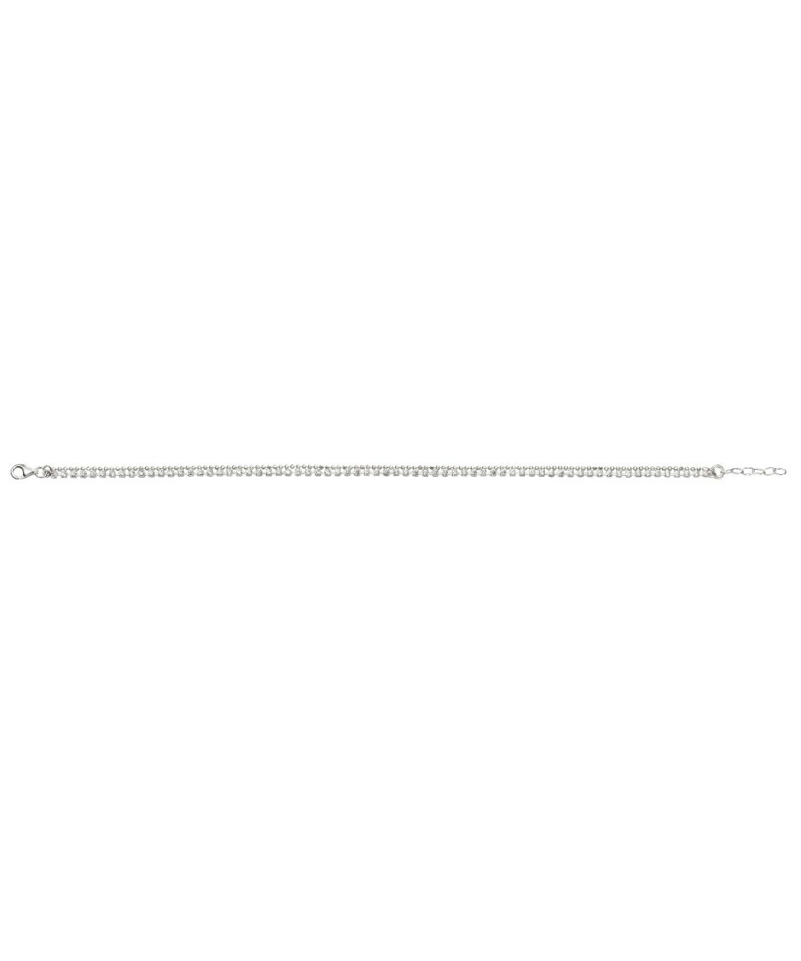 Image for Beginnings 925 Sterling Silver Ladies' Double Row Chain and CZ Stone Silver Anklet of Length 23-25cm