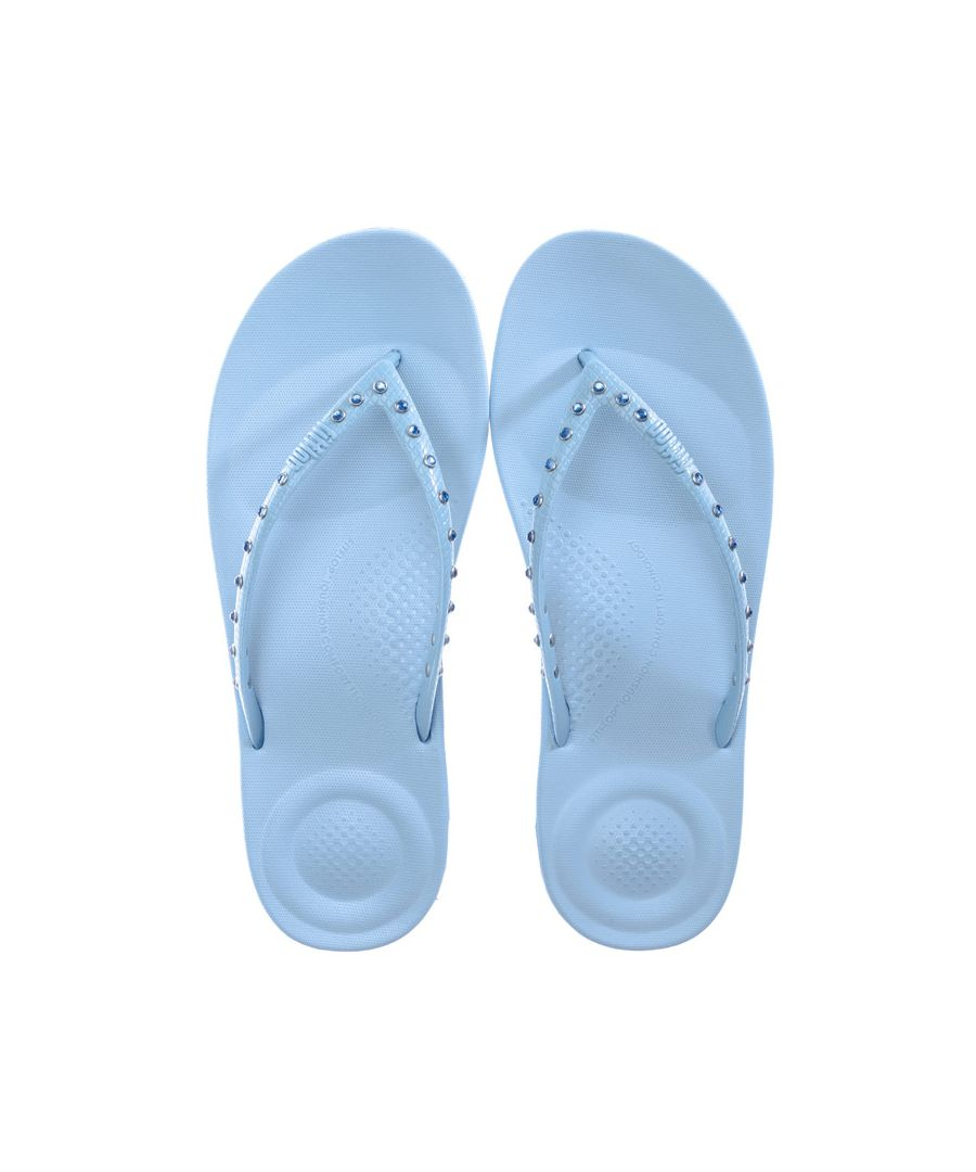 Image for Women's Fit Flop iQushion Crystal Ergonomic Flip Flops in Blue