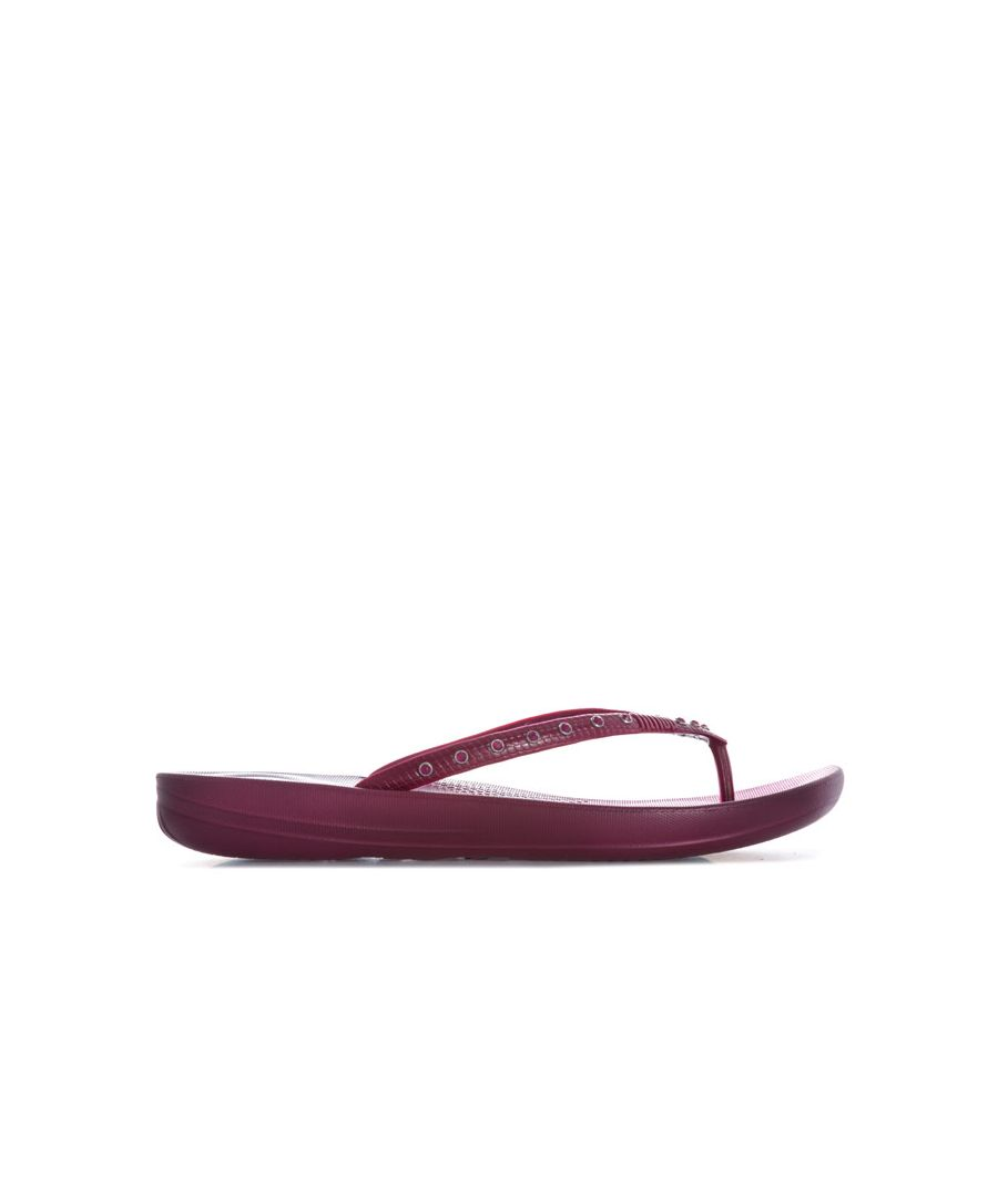 Image for Women's Fit Flop Crystal iQushion Ergonomic Flip Flops in Plum