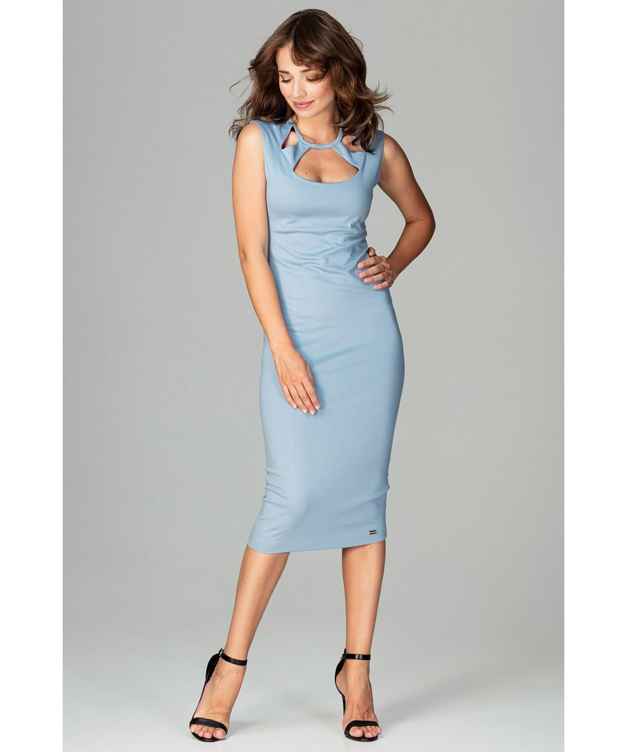 Image for Blue Bodycon Dress With Decorative Neckline