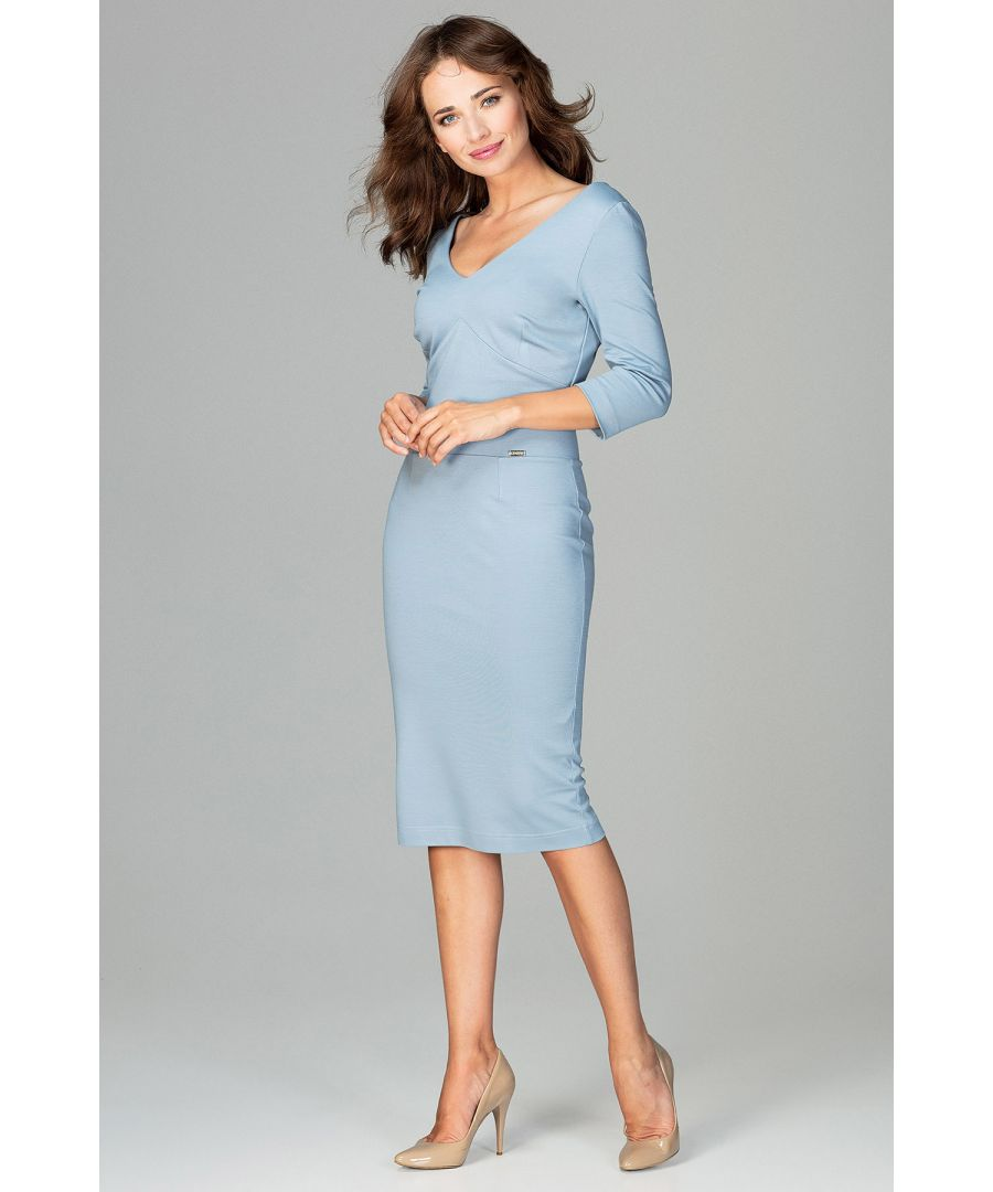 Image for Blue Midi Dress With V-neckline