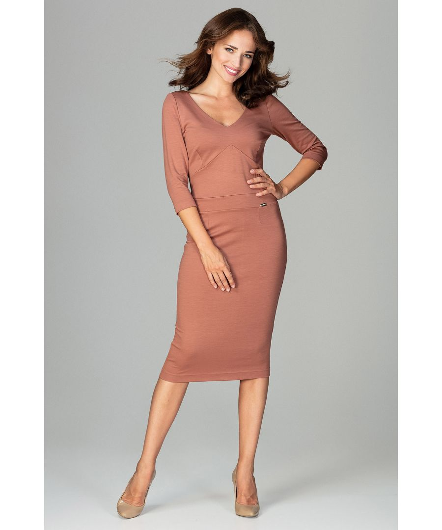 Image for Brown Midi Dress With V-neckline
