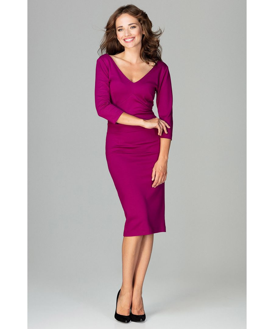 Image for Fuchsia Midi Dress With V-neckline