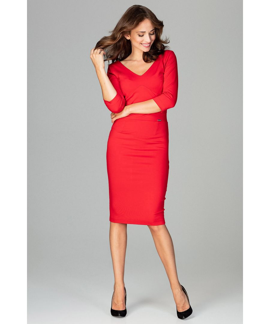 Image for Red Midi Dress With V-neckline