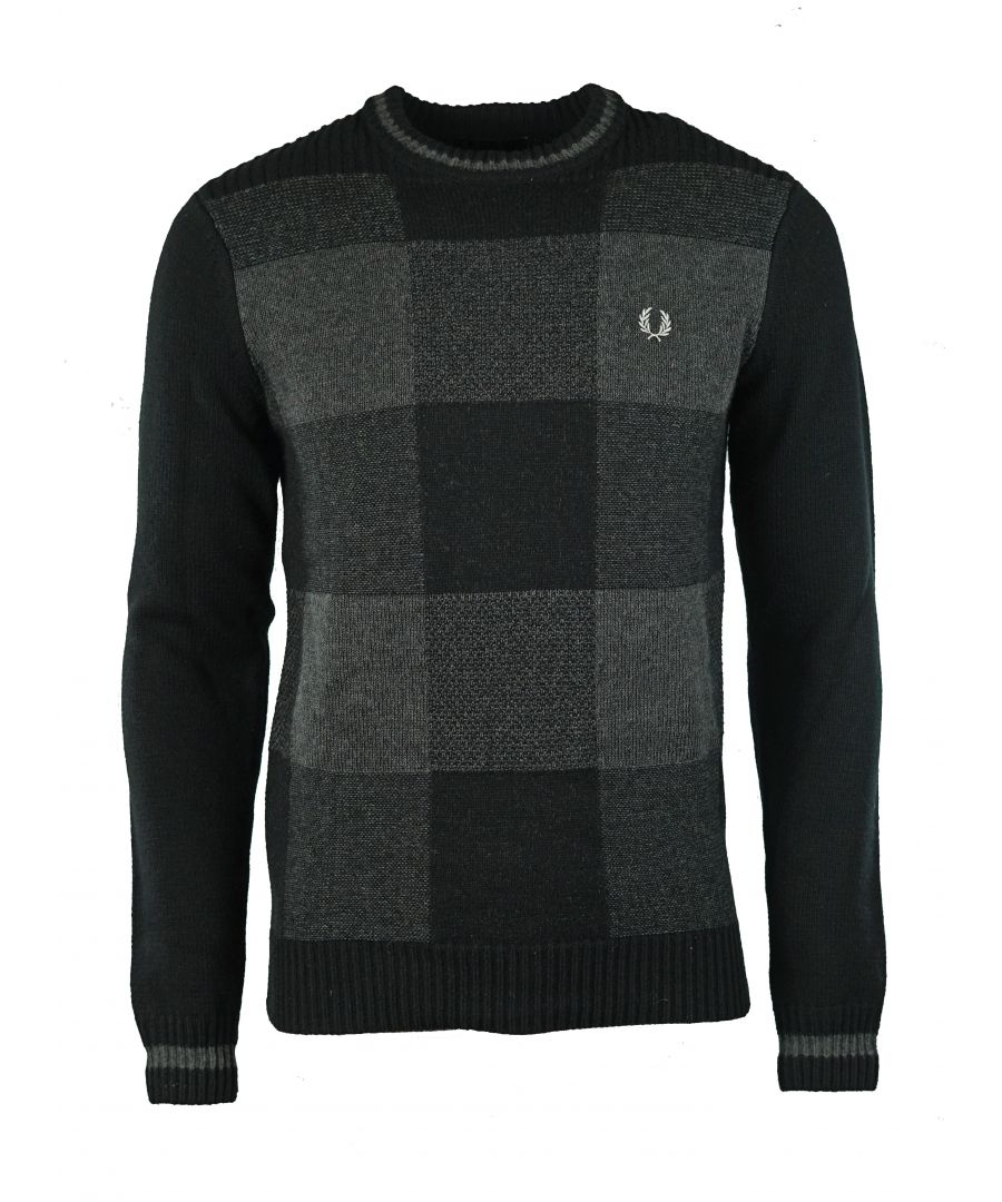 Image for Fred Perry K9525 Patchwork Textured Crew Neck 102 Black