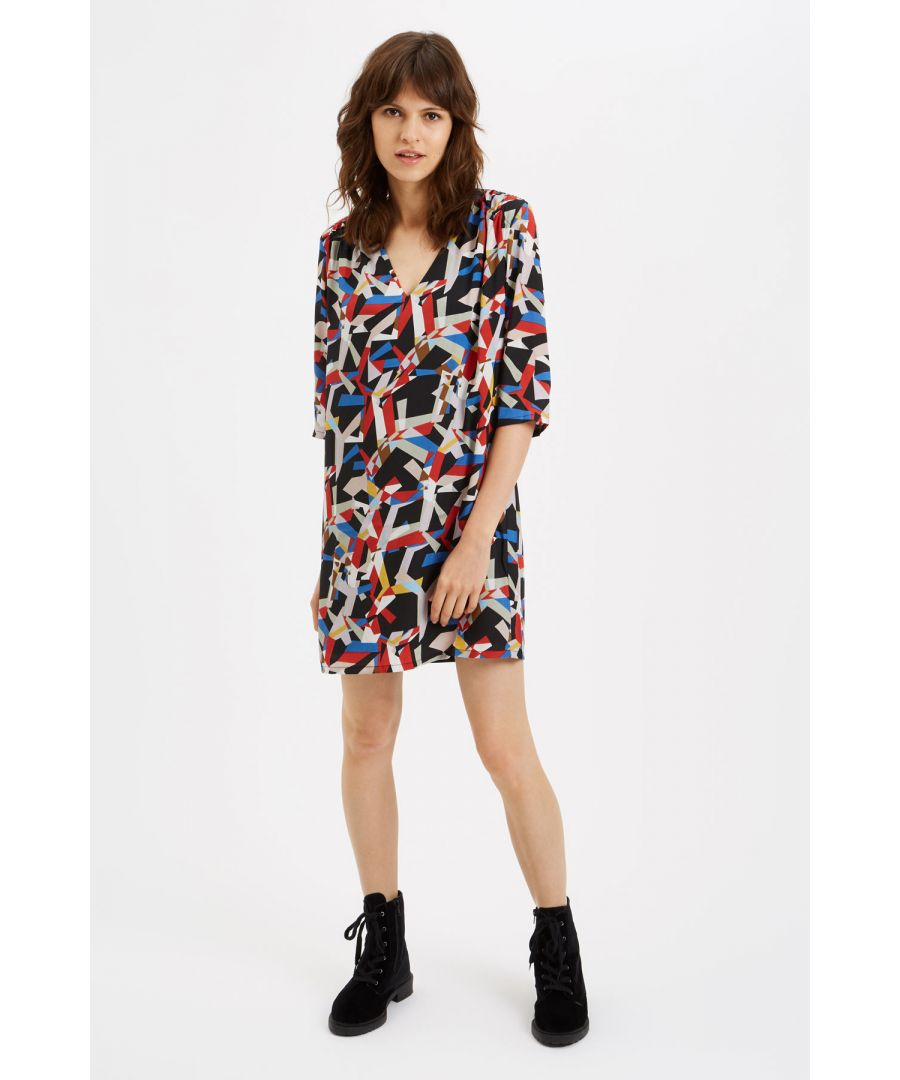 Image for Mollie Geometric Mini Dress in Black and Rust