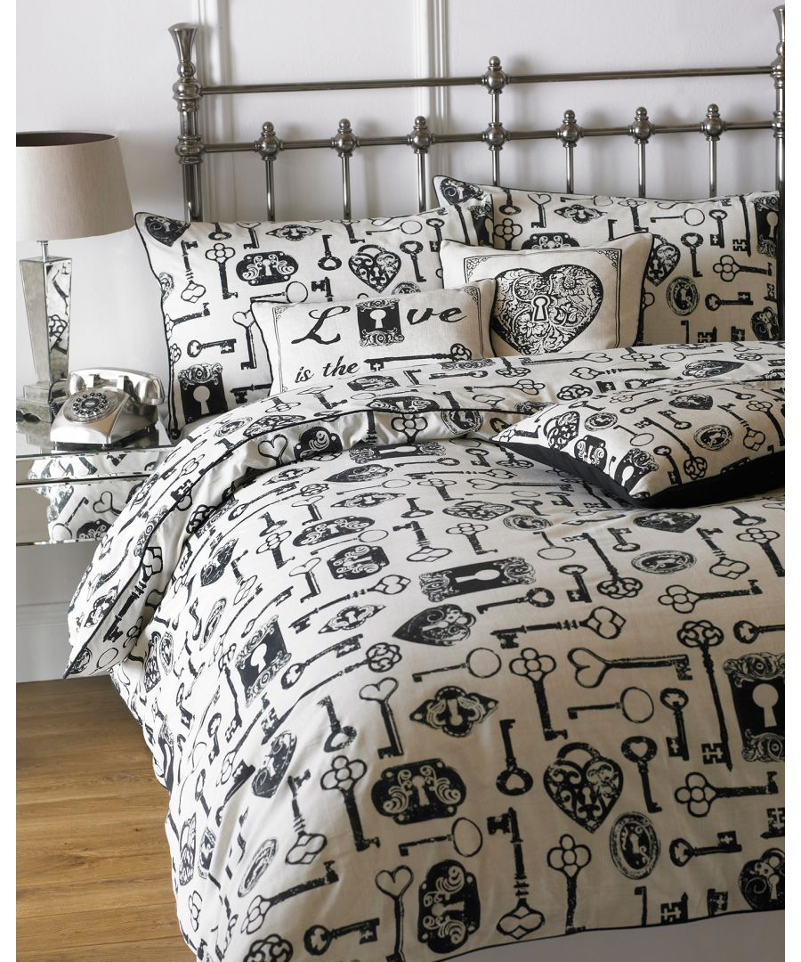 Image for Keys Double Duvet Set Linen/Black