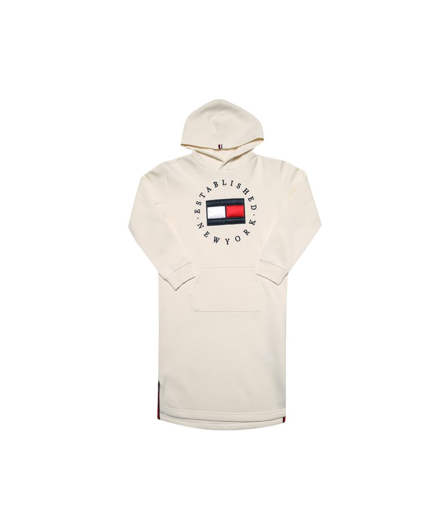 Image for Girl's Tommy Hilfiger Infant Heritage Logo Hood Dress in Off White