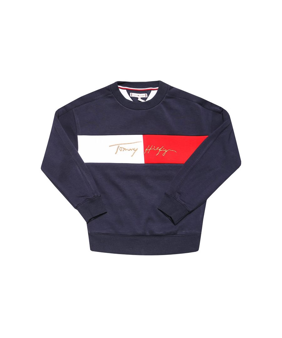 Image for Girl's Tommy Hilfiger Junior Logo Crew Sweat in Navy