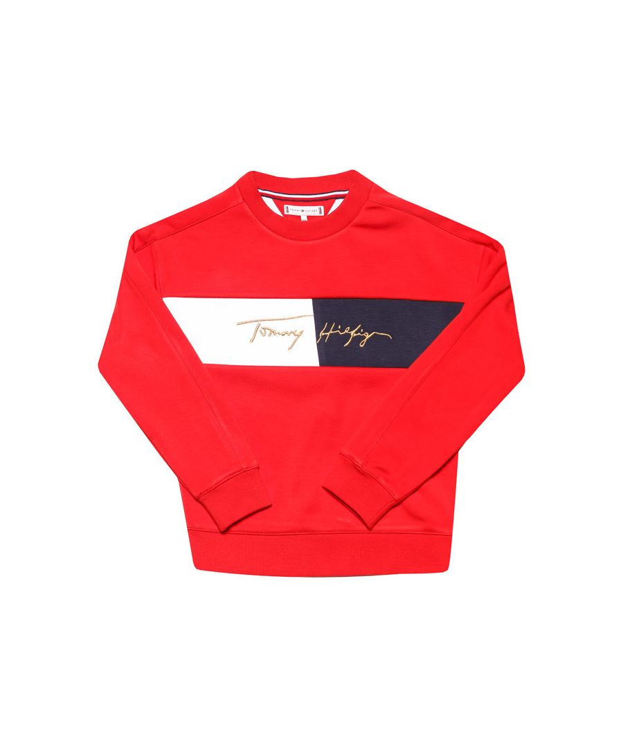 Image for Girls' Tommy Hilfiger Junior Logo Crew Sweat in Red