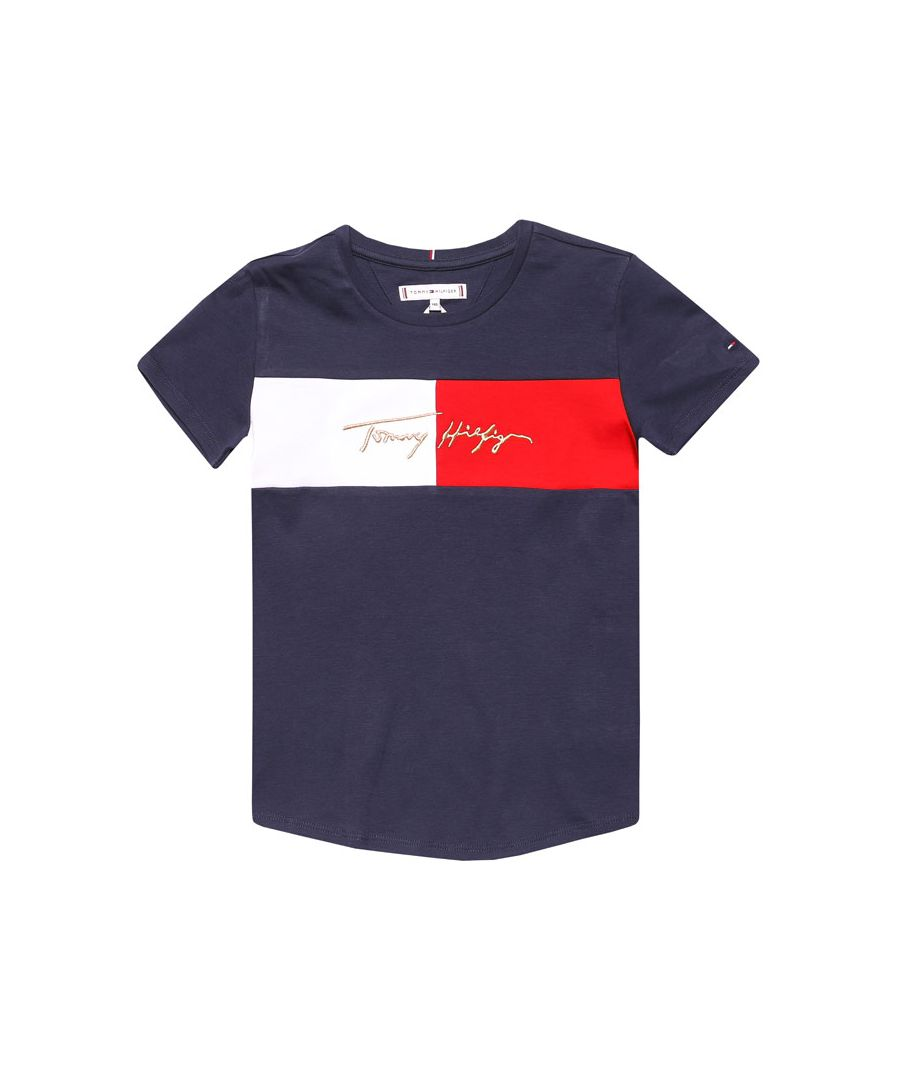 Image for Girl's Tommy Hilfiger Junior Icon Logo T-Shirt in Navy